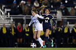 DURHAM, NC - NOVEMBER 11: Duke's Ella Stevens (17) and UNCG's Quiqui Hita (14). The Duke University Blue Devils hosted the UNCG Spartans on November 11, 2017 at Koskinen Stadium in Durham, NC in an NCAA Division I Women's Soccer Tournament First Round game. Duke won the game 1-0.