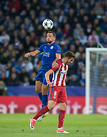 Danny Drinkwater of Leicester City  beats Saul Niguez of Club Atletico de Madrid in the air during the UEFA Champions League QF 2nd Leg match between Leicester City and Atletico Madrid at the King Power Stadium, Leicester, England on 18 April 2017. Photo by Andy Rowland.