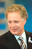 March 31 2003, Montreal, Quebec, Canada<br /> <br /> Jean Charest, Leader of  Quebec Liberal Party<br />  ( Parti LibÈral du QuÈbec) speak to the medias after the Televised debate between leaders , March 31 2003 in Montreal, Canada.<br /> <br /> Quebec elections will be held April 14, 2003<br /> <br /> Mandatory Credit: Photo by Steeve Duguay- Images Distribution. (©) Copyright 2003 by Steeve Duguay