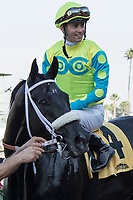 ARCADIA, CA   FEBRUARY 3 : #4 Lombo, ridden by Flavien Prat, in the winners circle after winning the Robert B. Lewis Stakes (Grade lll) on February 3, 2018 at Santa Anita Park in Arcadia, CA.(Photo by Casey Phillips/ Eclipse Sortswire/ Getty Images)