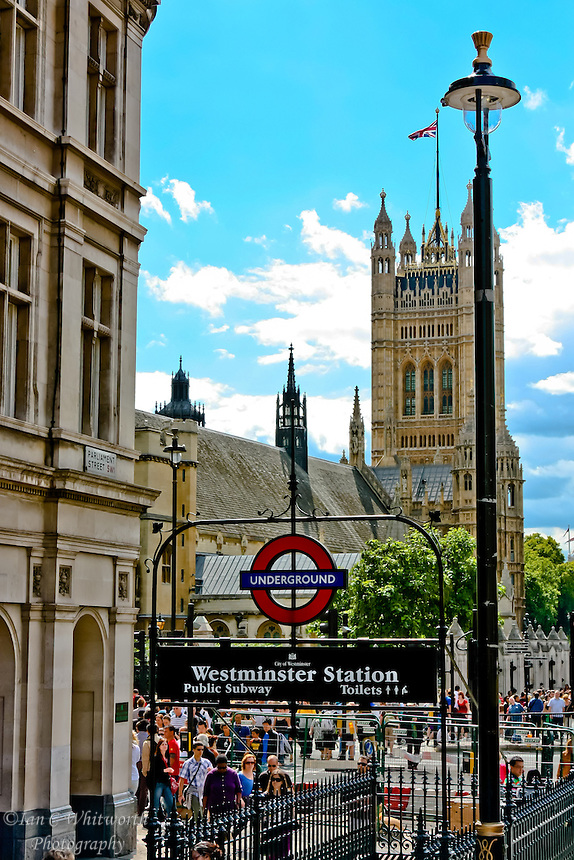 Westminster Station with the Palace of Westminster in the background