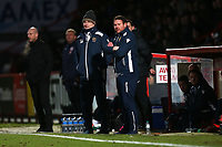 Stevenage manager Darren Sarll and Glenn Roeder on the touchline during Stevenage vs Reading, Emirates FA Cup Football at the Lamex Stadium on 6th January 2018