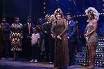 """Daniel J. Watts, Tina Turner and Adrienne Warren with cast during the """"Tina - The Tina Turner Musical"""" Opening Night Curtain Call at the Lunt-Fontanne Theatre on November 07, 2019 in New York City."""