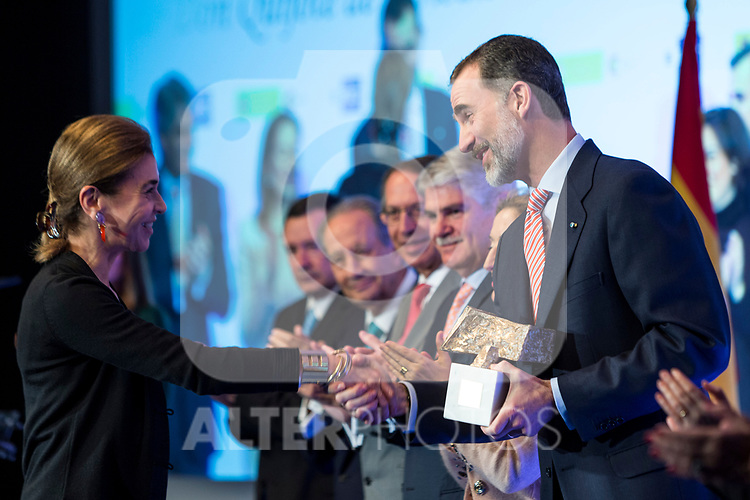 "Carmen Posadas and Spanish king Felipe attends XXXIV International prizes of journalism ""Rey de Espana"" and the XIII edition of the prize ""Don Quijote"" of journalism in Madrid, Spain. March 27, 2017. (ALTERPHOTOS / Rodrigo Jimenez)"