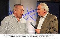 "Former Taoiseach Bertie Ahern pictured with Kerry football legend Paidi O'Se during a rehearsal for  ""The Road to Croker"" sports TV programme in Paidi O'Se's Pub ,Ventry , Co. Kerry on Wednesday. Mr Ahern is a guest presenter of the programme that will be aired on RTE on Thursday night.Picture: Eamonn Keogh (MacMonagle, Killarney)"