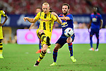 Manchester United forward Juan Mata (r) fights for the ball with Borussia Dortmund midfielder Sebastian Rode (l) during the International Champions Cup China 2016, match between Manchester United vs Borussia  Dortmund on 22 July 2016 held at the Shanghai Stadium in Shanghai, China. Photo by Marcio Machado / Power Sport Images
