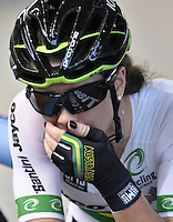 CALI – COLOMBIA – 18-02-2017: Amy Cure Australia, gana medalla de oro en la prueba por Puntos Damas en el Velodromo Alcides Nieto Patiño, sede de la III Valida de la Copa Mundo UCI de Pista de Cali 2017. / Amy Cure, from Australia, win the gold medal in the Women´s Point Race at the Alcides Nieto Patiño Velodrome, home of the III Valid of the World Cup UCI de Cali Track 2017. Photo: VizzorImage / Luis Ramirez / Staff.