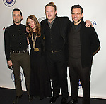 WASHINGTON, DC - JANUARY 7: (2nd L-R): Kanene Donhey Pipkin,  Brian Elmquist and Zach Williams of the Lone Bellow attend The Lincoln Awards: A Concert For Verterns & The Military Family presented by The Friars Foundation at The John F. Kennedy Center for the Performing Arts on January 7, 2015 in Washington, D.C. Photo Credit: Morris Melvin / Retna Ltd.
