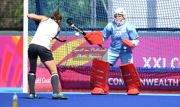 Amy Tennant (Team England, ENG, goalkeeper). Womens hockey training. Commonwealth games hockey centre. Queensland. Australia. Gold Coast 2018. 03/04/2018. ~ MANDATORY CREDIT Garry Bowden/SIPPA - NO UNAUTHORISED USE - +44 7837 394578