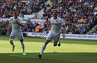 Leeds United's Patrick Bamford celebrates scoring his and his side's second goal <br /> <br /> Photographer Stephen White/CameraSport<br /> <br /> The EFL Sky Bet Championship - Wigan Athletic v Leeds United - Saturday 17th August 2019 - DW Stadium - Wigan<br /> <br /> World Copyright © 2019 CameraSport. All rights reserved. 43 Linden Ave. Countesthorpe. Leicester. England. LE8 5PG - Tel: +44 (0) 116 277 4147 - admin@camerasport.com - www.camerasport.com