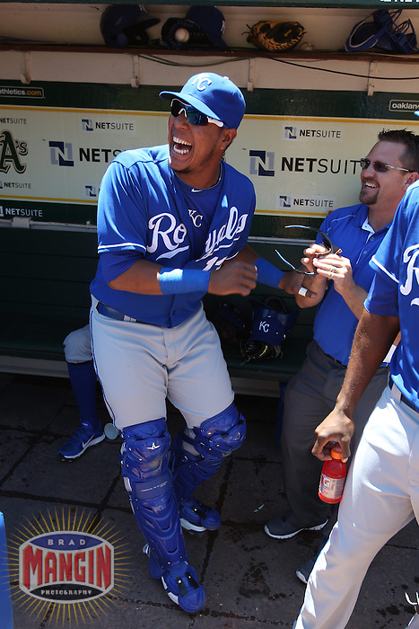 OAKLAND, CA - MAY 19:  Salvador Perez #13 of the Kansas City Royals laughs in the dugout before the game against the Oakland Athletics at O.co Coliseum on Sunday May 19, 2013 in Oakland, California. Photo by Brad Mangin