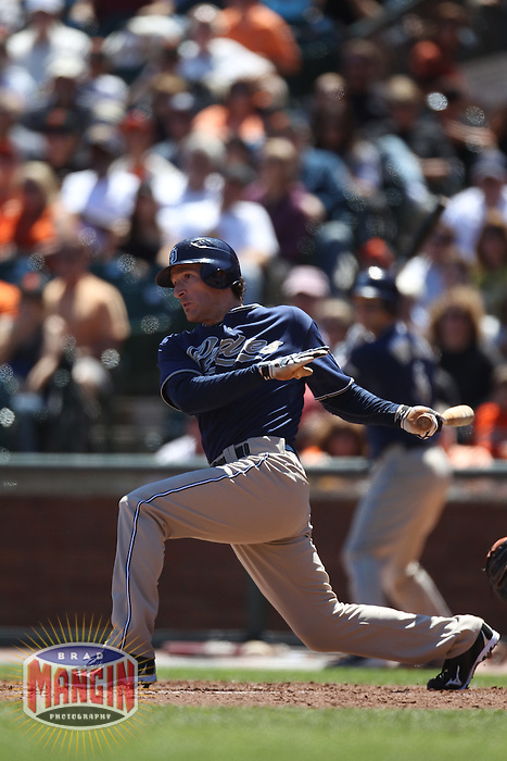 SAN FRANCISCO - AUGUST 14:  Chris Denorfia of the San Diego Padres bats against the San Francisco Giants during the game at AT&T Park on August 14, 2010 in San Francisco, California. Photo by Brad Mangin