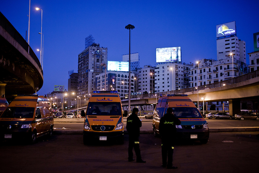 Ambulances are stationed on stand-by between Tahrir Square and the Maspero buildings, central Cairo, January 27, 2012. Photo: Ed Giles.