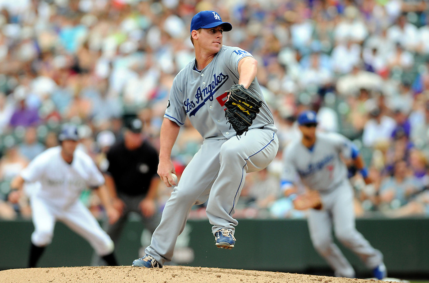 21 AUGUST 2011:  Los Angeles Dodgers starting pitcher Chad Billingsley (58) pitches   during a regular season game between the Los Angeles Dodgers and the Colorado Rockies at Coors Field in Denver, Colorado. The Rockies beat the Dodgers 5-3. *****For Editorial Use Only*****