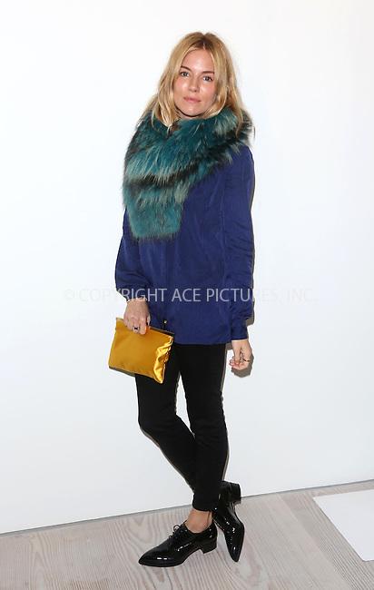 WWW.ACEPIXS.COM<br /> <br /> US Sales Only<br /> <br /> September 15 2013, London<br /> <br /> Sienna Miller at the Matthew Williamson Catwalk Show during London Fashion Week SS14 on September 15 2013 in London <br /> <br /> By Line: Famous/ACE Pictures<br /> <br /> <br /> ACE Pictures, Inc.<br /> tel: 646 769 0430<br /> Email: info@acepixs.com<br /> www.acepixs.com