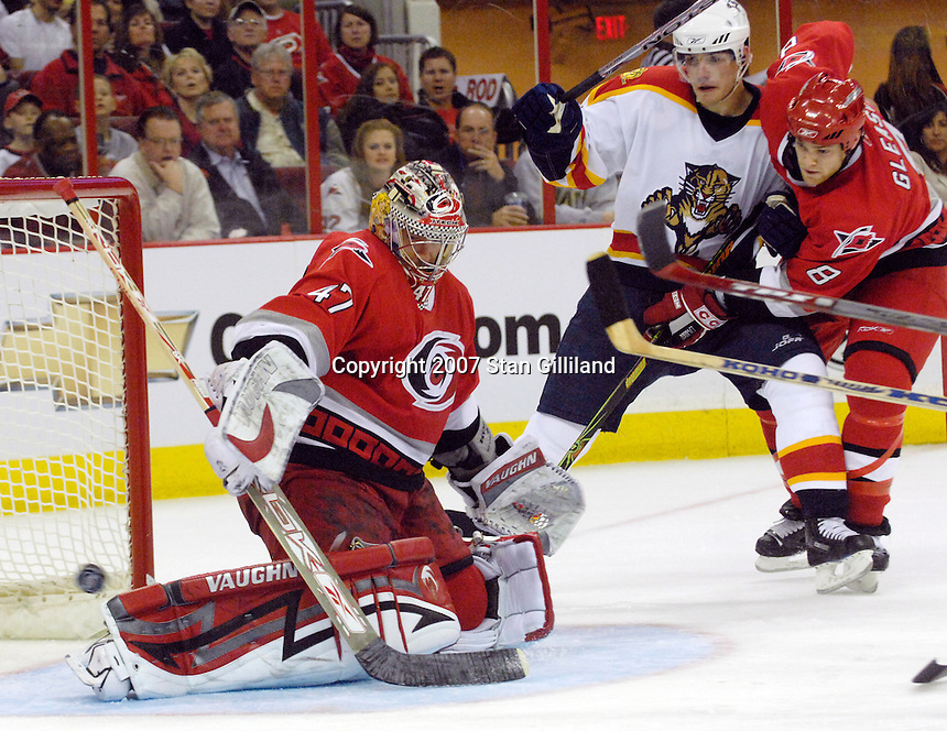 Carolina Hurricanes' goalie John Grahame makes a save against the Florida Panthers Tuesday, March 13, 2007 at the RBC Center in Raleigh, NC. Carolina won 3-1.