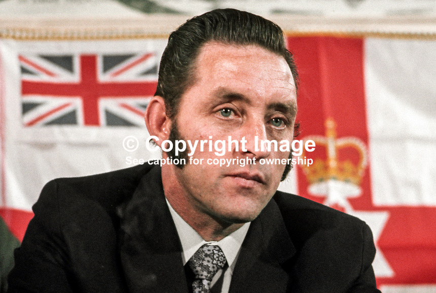 Jim Anderson, chairman, Ulster Defence Association, Protestant para-military organisation, N Ireland, 197211070702JA1.<br /> <br /> Copyright Image from Victor Patterson, 54 Dorchester Park, Belfast, UK, BT9 6RJ<br /> <br /> t1: +44 28 9066 1296 (from Rep of Ireland 048 9066 1296)<br /> t2: +44 28 9002 2446 (from Rep of Ireland 048 9002 2446)<br /> m: +44 7802 353836<br /> <br /> e1: victorpatterson@me.com<br /> e2: victorpatterson@gmail.com<br /> <br /> The use of my copyright images is subject to my Terms &amp; Conditions.<br /> <br /> It is IMPORTANT that you familiarise yourself with them. They are available on my website at www.victorpatterson.com.<br /> <br /> None of my copyright images may be used on a website unless they are visibly watermarked, i.e. &copy; Victor Patterson within the body of the visible image. Metadata denoting my copyright must NOT be deleted. <br /> <br /> Web use is extra at currently recommended NUJ rates.