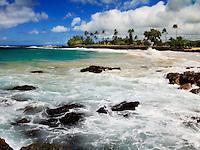 View of Brennecke Beach in Poipu on the south shore of Kauai, Hawaii.