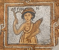 Mosaic of female human figure holding a fish, identified by Greek inscription, Byzantine church, Petra, Ma'an, Jordan. Petra church was rebuilt in 450 AD over Nabatean and Roman ruins and the mosaics date from the 6th century. This figure is from the Southern Aisle. Petra was the capital and royal city of the Nabateans, Arabic desert nomads. Picture by Manuel Cohen