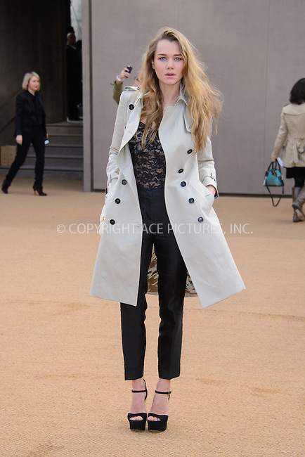 WWW.ACEPIXS.COM<br /> <br /> February 23 2015, London<br /> <br /> Immy Waterhouse arriving at the Burberry Prorsum Womenswear AW15 at the Brixton Academy on February 23 2015 in London. <br /> <br /> By Line: Famous/ACE Pictures<br /> <br /> <br /> ACE Pictures, Inc.<br /> tel: 646 769 0430<br /> Email: info@acepixs.com<br /> www.acepixs.com