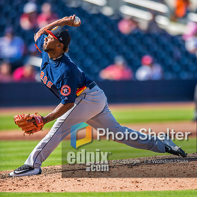 28 February 2017: Houston Astros pitcher Dayan Diaz on the mound during the Spring Training inaugural game against the Washington Nationals at the Ballpark of the Palm Beaches in West Palm Beach, Florida. The Nationals defeated the Astros 4-3 in Grapefruit League play. Mandatory Credit: Ed Wolfstein Photo *** RAW (NEF) Image File Available ***