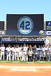 Mariano Rivera (Yankees),<br /> SEPTEMBER 22, 2013 - MLB :<br /> Mariano Rivera of the New York Yankees speaks to fans with his wife and sons during his retirement ceremony before the Major League Baseball game against the San Francisco Giants at Yankee Stadium in The Bronx, New York, United States. (Photo by Thomas Anderson/AFLO) (JAPANESE NEWSPAPER OUT)