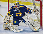 29 December 2013:  Canisius College Golden Griffins goaltender Adam Harris, a Sophomore from Penticton, British Columbia, in third period action against the University of Vermont Catamounts at Gutterson Fieldhouse in Burlington, Vermont. The Catamounts defeated the Golden Griffins 6-2 in the 2013 Sheraton/TD Bank Catamount Cup NCAA Hockey Tournament. Mandatory Credit: Ed Wolfstein Photo *** RAW (NEF) Image File Available ***