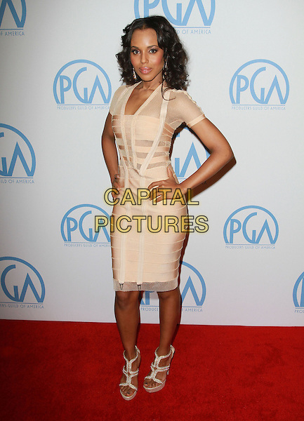 KERRY WASHINGTON .22nd Annual Producers Guild Awards held At The Beverly Hilton Hotel, Beverly Hills, CA, USA, 22nd January 2011..full length beige nude cream dress gold herve leger bandage hands on hips paltform sandals sleeves .CAP/ADM/KB.©Kevan Brooks/AdMedia/Capital Pictures.