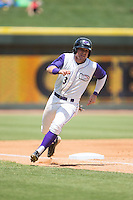 Jake Peter (3) of the Winston-Salem Dash rounds third base against the Salem Red Sox at BB&T Ballpark on May 31, 2015 in Winston-Salem, North Carolina.  The Red Sox defeated the Dash 6-5.  (Brian Westerholt/Four Seam Images)