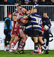 Yann Thomas of Gloucester Rugby gets to know the Bath Rugby team. Anglo-Welsh Cup match, between Bath Rugby and Gloucester Rugby on January 27, 2017 at the Recreation Ground in Bath, England. Photo by: Patrick Khachfe / Onside Images