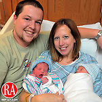 TORRINGTON, CT-01 JANUARY 2009-010110JS01- Ben Nadeau of Norfolk and his wife Kailyn Nadeau, welcomed their twin boys Landon Dean Nadeau and Reid Bradford Nadeau into the world on New Years Day at Charlotte Hungerford Hospital in Torrington. This is the couple's second and third child.<br /> Jim Shannon Republican-American