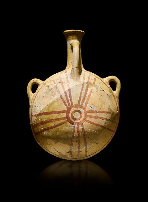 Bronze Age Anatolian decorated terra cotta water flask - Kültepe Kanesh - Museum of Anatolian Civilisations, Ankara, Turkey.  Against a black background.