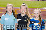 Killarney athletes Ellen Moloney St Olivers, Mollie Spellman Lissivigeen NS and Jenny Cronin St Olivers at the County Primary schools athletics championships in An Riocht Castleisland on Saturday