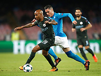 Football Soccer: UEFA Champions League Napoli vs Mabchester City San Paolo stadium Naples, Italy, November 1, 2017. <br /> Manchester City's Fabian Delph (l) in action with Jos&eacute; Callejon (r) during the Uefa Champions League football soccer match between Napoli and Manchester City at San Paolo stadium, November 1, 2017.<br /> UPDATE IMAGES PRESS/Isabella Bonotto