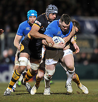 Cian Healy is tackled in possession. Amlin Challenge Cup quarter-final, between London Wasps and Leinster on April 5, 2013 at Adams Park in High Wycombe, England. Photo by: Patrick Khachfe / Onside Images