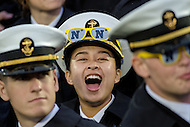 Annapolis, MD - OCT 8, 2016: Navy Midshipmen cadet is fired up after a Navy touchdown during game between Houston and Navy at Navy-Marine Corps Memorial Stadium Annapolis, MD. The Midshipmen upset #6 Houston 46-40. (Photo by Phil Peters/Media Images International)