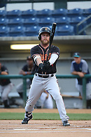 Eric Filia (4) of the Modesto Nuts bats against the Rancho Cucamonga Quakes at LoanMart Field on August 1, 2017 in Rancho Cucamonga, California. Rancho Cucamonga defeated Modesto, 2-1. (Larry Goren/Four Seam Images)