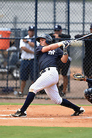GCL Yankees 2 catcher Jesus Aparicio (36) at bat during a game against the GCL Braves on June 23, 2014 at the Yankees Minor League Complex in Tampa, Florida.  GCL Yankees 2 defeated the GCL Braves 12-4.  (Mike Janes/Four Seam Images)