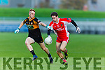 W'Kerry's Tomas O'Se and Stack's Jack Morgan  at the Garvey's Supervalu Senior County Football Championship Quarter Finals West Kerry V Austin Stacks at Austin Stacks Park on Saturday