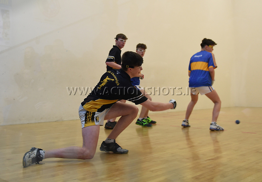 19/03/2018; 40x20 All Ireland Juvenile Championships Finals 2018; Kingscourt, Co Cavan;<br /> Boys Under-16 Doubles; Kilkenny (Kyle Dunne/Jack Doyle) v Tipperary (Jack McGrath/Conor O&rsquo;Dwyer)<br /> Photo Credit: actionshots.ie/Tommy Grealy