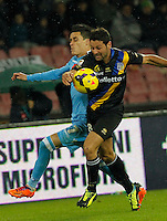 Jose Callejon  Daniele galloppa fight fr the ball  during the Italian Serie A soccer match between SSC Napoli and Parma FC at San Paolo stadium in Naples
