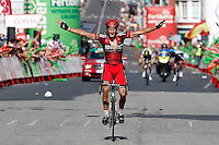 Stephen Cummings celebrates the victory in the stage of La Vuelta 2012 between Santiago de Compostela and Ferrol.August 31,2012. (ALTERPHOTOS/Acero)