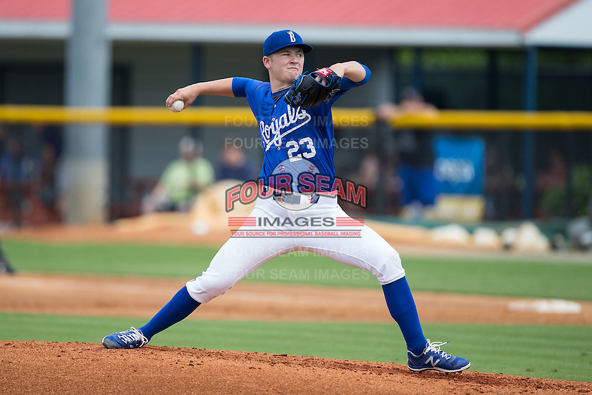 Burlington Royals starting pitcher Nolan Watson (23) in action against the Danville Braves at Burlington Athletic Park on July 12, 2015 in Burlington, North Carolina.  The Royals defeated the Braves 9-3. (Brian Westerholt/Four Seam Images)