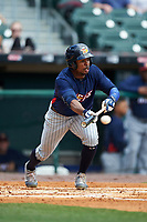 Toledo Mudhens Wynton Bernard (36) bunts during a game against the Buffalo Bisons on May 18, 2016 at Coca-Cola Field in Buffalo, New York.  Buffalo defeated Toledo 7-5.  (Mike Janes/Four Seam Images)