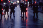 Seattle, Police in riot gear, Seattle WTO protests, 1999 World Trade Organization,
