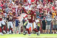 Landover, MD - September 16, 2018: Washington Redskins defensive back D.J. Swearinger (36) celebrates after his interception during the  game between Indianapolis Colts and Washington Redskins at FedEx Field in Landover, MD.   (Photo by Elliott Brown/Media Images International)