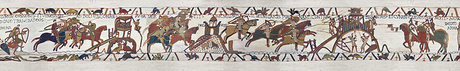 Bayeux Tapestry Scene 18 - Normans attack Dol and make the Duke of Brittany flee then they attack Dinan and finaly the Duke of Britany surrenders