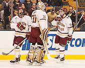Casey Fitzgerald (BC - 5), Thatcher Demko (BC - 30), Ryan Fitzgerald (BC - 19) - The Boston College Eagles defeated the Harvard University Crimson 3-2 in the opening round of the Beanpot on Monday, February 1, 2016, at TD Garden in Boston, Massachusetts.