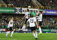 Niklas Süle (Deutschland Germany) klärt gegen Ciaron Brown (Nordirland, Northern Ireland) - 09.09.2019: Nordirland vs. Deutschland, Windsor Park Belfast, EM-Qualifikation DISCLAIMER: DFB regulations prohibit any use of photographs as image sequences and/or quasi-video.
