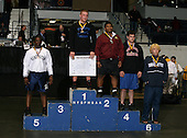 Ken Altarac (1st - Lasalle); Corey James (2nd - Kingston); Joe Zitone (4th - Port Jervis); Deshaun Thomas (5th - Hutington); and Matt Mahon (6th - Brighton) pose on the podium for the Division One 285 weight class during the NY State Wrestling Championship finals at Blue Cross Arena on March 9, 2009 in Rochester, New York.  (Copyright Mike Janes Photography)